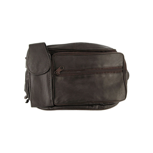 Lambskin Leather Brown Fanny Pack with Cell Phone Pouch
