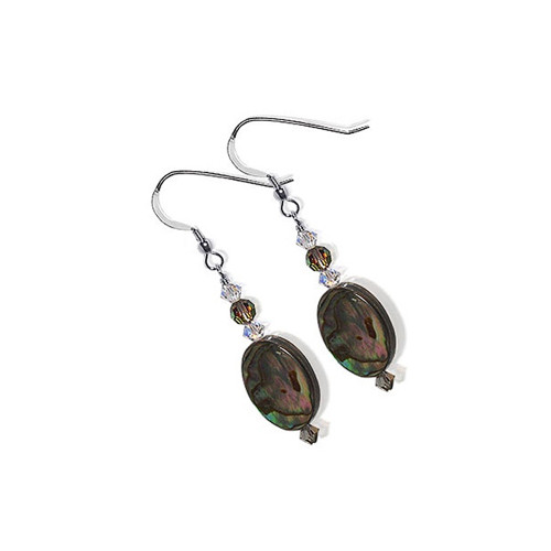 925 Silver Dyed Abalone Crystal Drop Earrings with Swarovski Elements
