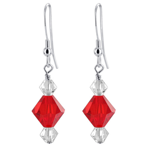 925 Silver Red & Clear Crystal made with Swarovski Elements Drop Earrings