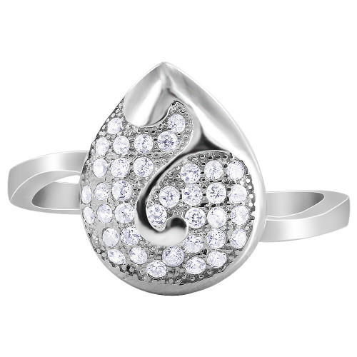 Pave Set Cubic Zirconia Teardrop with Swirl Rings