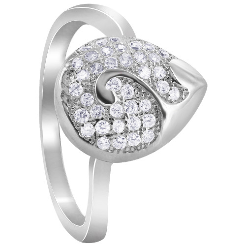 925 Silver Pave Set Clear Cubic Zirconia Pear & Swirl Rings
