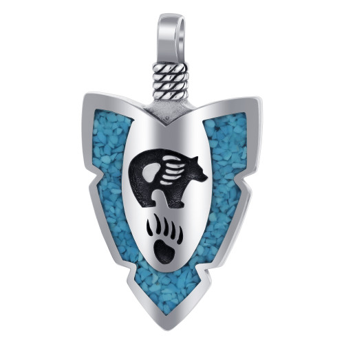 Arrowhead Turquoise Gemstone Bear Claw Southwestern Style Sterling Silver Pendant