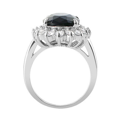 925 Silver Oval September Birthstone Sapphire CZ Ring