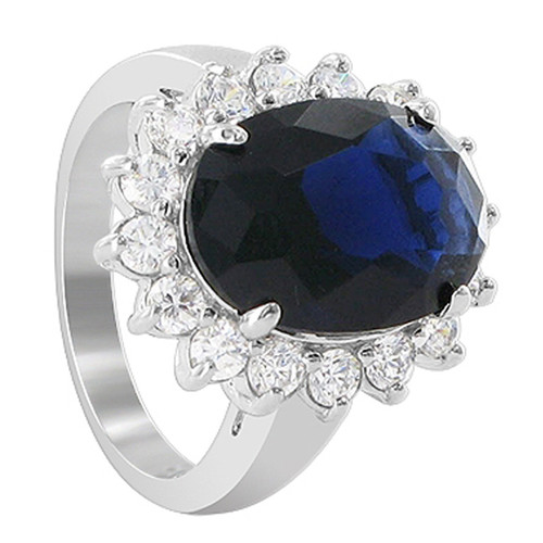 925 Sterling Silver 15 x 18mm Oval Sapphire Color Cubic Zirconia Designer Ring
