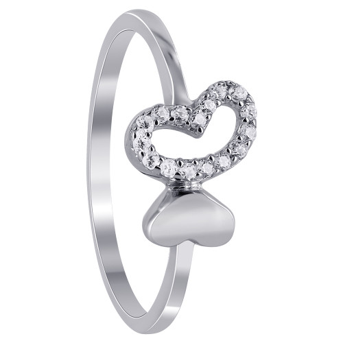 925 Silver Twin Open Hearts & Clear CZ Studded Ring