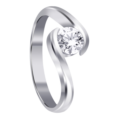 Cubic Zirconia CZ Sterling Silver Solitaire Promise Ring