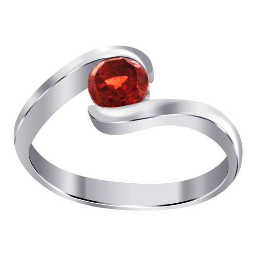 Garnet Cubic Zirconia CZ Sterling Silver Solitaire Promise Ring