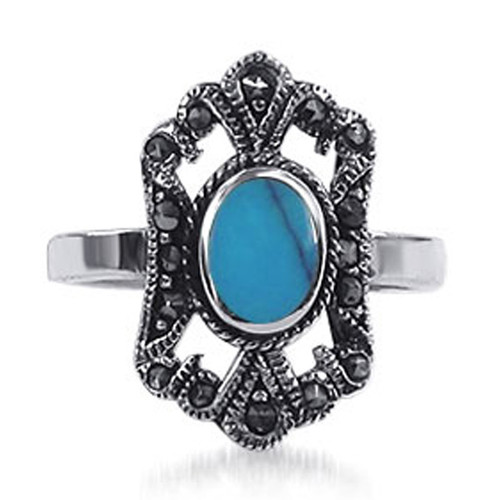 Marcasite Romantic Crown Design Oval Simulated Turquoise Gemstone Sterling Silver Ring