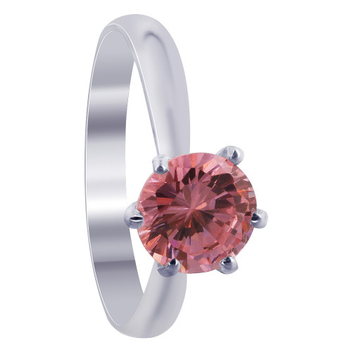 Sterling Silver CZ Pink Round Solitaire 3mm Ring