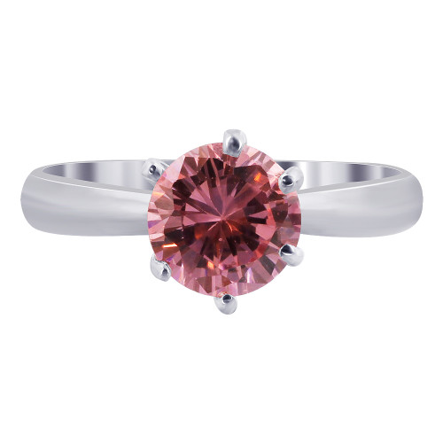 Sterling Silver CZ Pink Solitaire 3mm Ring