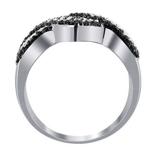 925 Silver Black & Clear CZ Overlapping Channel Set Ring