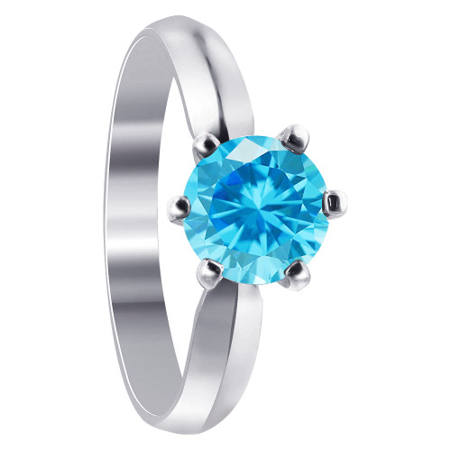 Sterling Silver Round Blue CZ Solitaire 3mm Ring