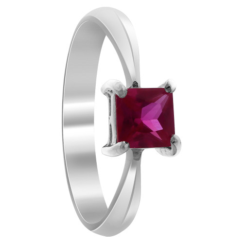 Sterling Silver Red Cubic Zirconia Princess Cut Solitaire Ring