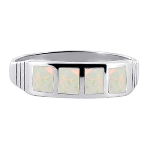 White Opal Sterling Silver Rings