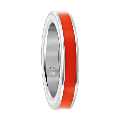 925 Sterling Silver Orange Enamel 4mm Women's Band Ring