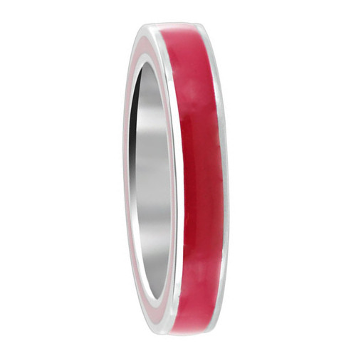 925 Sterling Silver Hot Pink Enamel 4mm Women's Band Ring