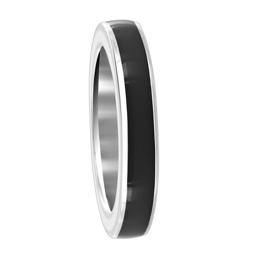 925 Sterling Silver Black Enamel 4mm Women's Band Ring