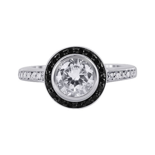 925 Silver 7mm Round Clear CZ & 1mm Black border Ring
