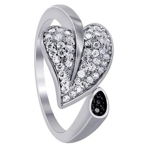 925 Sterling Silver 1mm Clear Cubic Zirconia Pave Set Leaf Ring