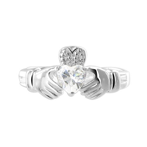 Clear Cubic Zirconia Heart 925 Sterling Silver Claddagh Ring