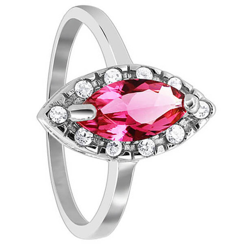925 Silver Marquise Rose CZ Solitaire with accents Ring