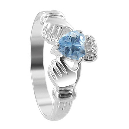 Blue Cubic Zirconia Heart Sterling Silver Claddagh Ring