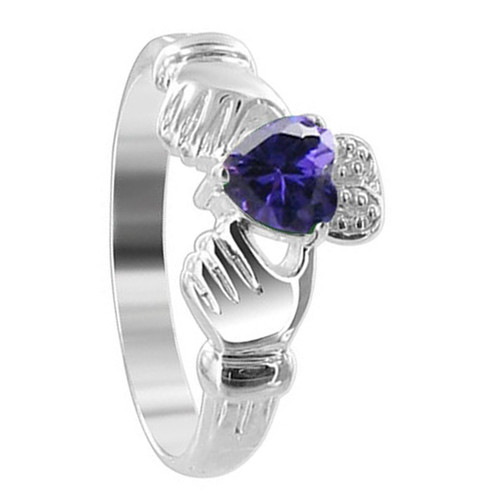 Sterling Silver Purple Cubic Zirconia CZ Heart Claddagh Ring