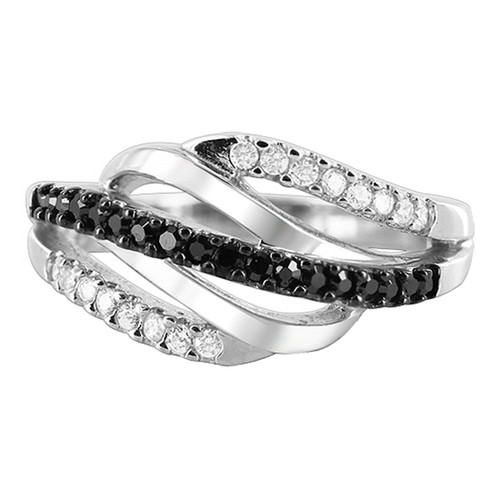 Black and Clear CZ Wavy Design Ring