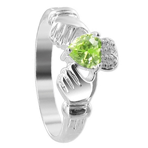 Sterling Silver Green Cubic Zirconia Heart Claddagh Ring