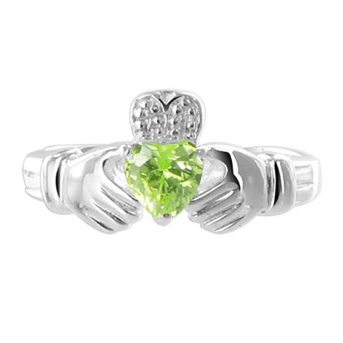 Sterling Silver Green Cubic Zirconia Peridot Heart Claddagh Ring