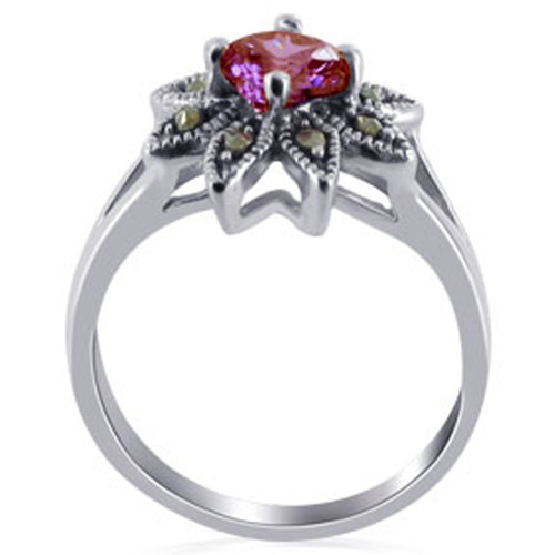 Sterling Silver Red Round Cubic Zirconia Flower Design with Marcasite Ring