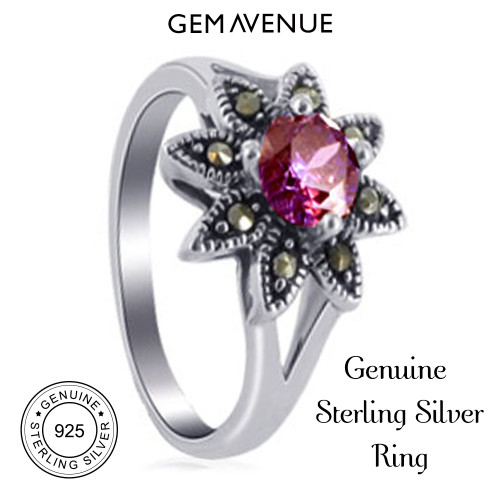925 Silver Red Round CZ Flower Design with Marcasite Ring