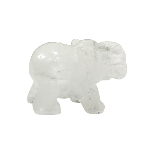 Natural Clear Quartz 1.5 inches Carved Elephant Gemstone