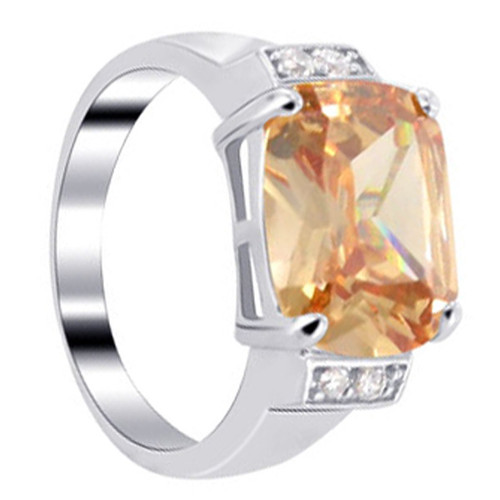 Sterling Silver Orange Cubic Zirconia CZ with Accents Princess cut Ring