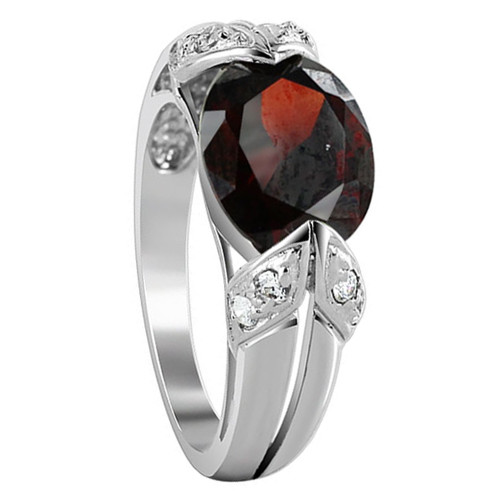 Sterling Silver Red Oval CZ Cubic Zirconia Ring