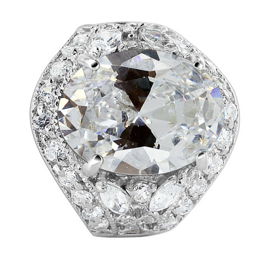 925 Sterling Silver Oval CZ Cubic Zirconia 7mm Ring