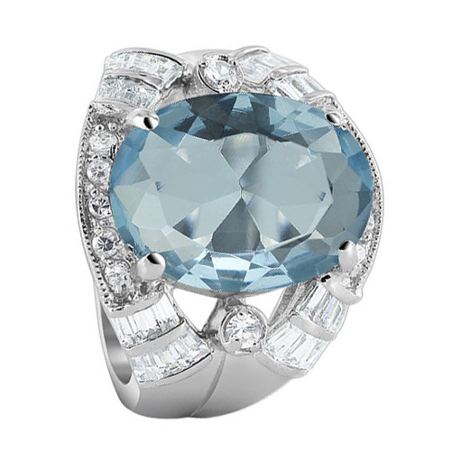 925 Sterling Silver Oval Blue Color CZ Cubic Zirconia 5mm Ring