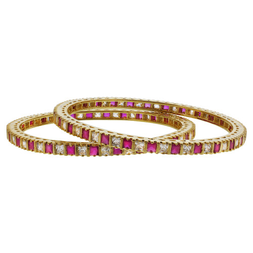 Gold Plated Ruby Glass With CZ Bollywood Indian Bangle Bracelets Set of 2