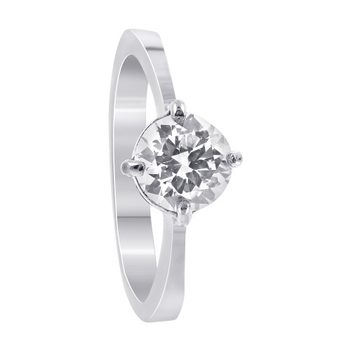Stainless Steel Round Clear Cubic Zirconia Solitaire Ring