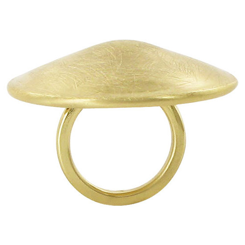 Gold Plated 1.4 inch Round Designer Scratch Style Ring