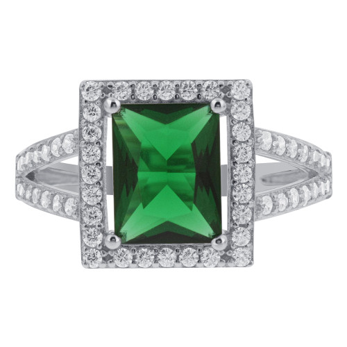 925 Silver CZ Green Rectangle Cubic Zirconia Halo Ring