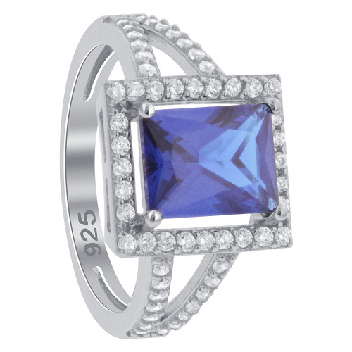 925 Sterling Silver Blue Rectangle Cubic Zirconia Halo CZ Ring