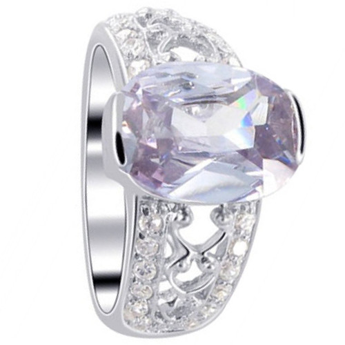 925 Sterling Silver Oval Purple Cubic Zirconia Solitaire Ring