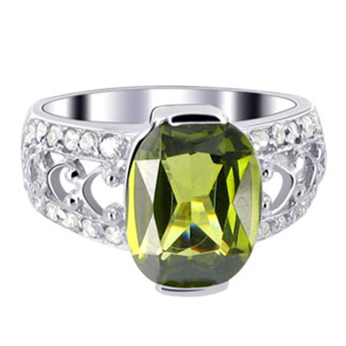 925 Silver Oval Olive Green CZ Solitaire Ring