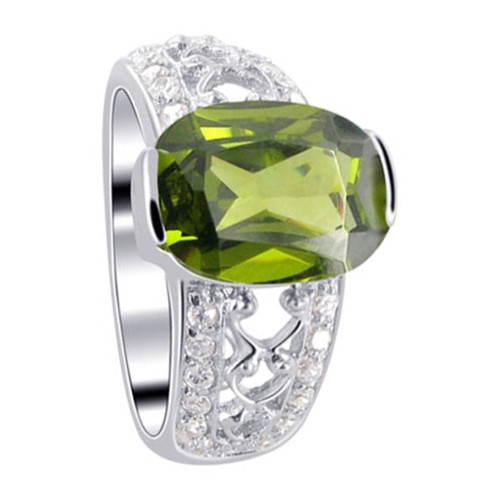 925 Sterling Silver Oval Olive Green Cubic Zirconia Solitaire Ring