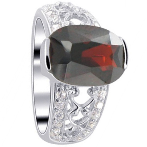 925 Sterling Silver Oval Red Cubic Zirconia Solitaire Ring