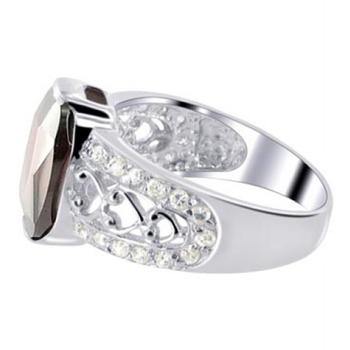 925 Silver Oval Garnet Color CZ Solitaire Ring