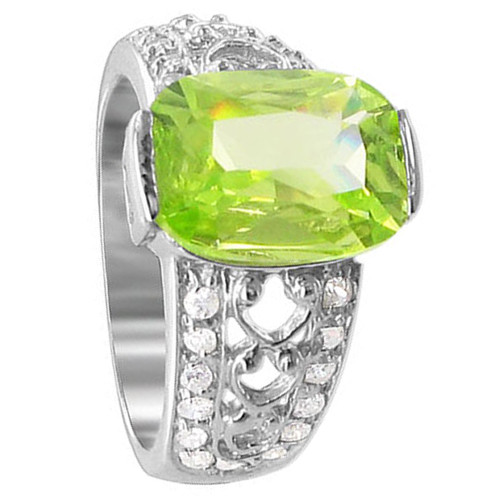 925 Sterling Silver cut Green CZ Cubic Zirconia Solitaire Ring