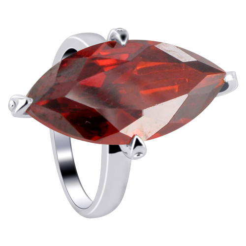 925 Sterling Silver Marquise Shape Garnet Color Cubic Zirconia Solitaire Ring