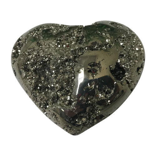 2.2 X 2.5 Inch Natural Pyrite Gemstone Heart Collectible From Peru